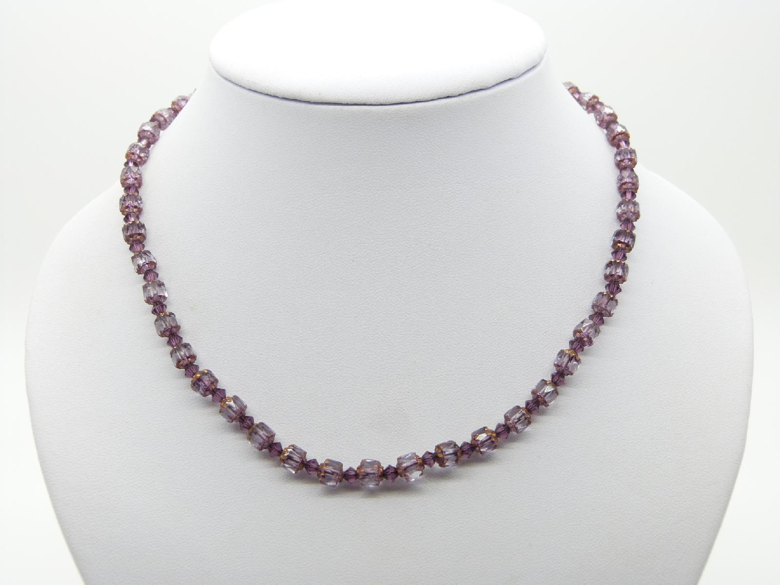 Vintage 30s Style Pretty Purple Glass Faceted Bead Necklace 43cms