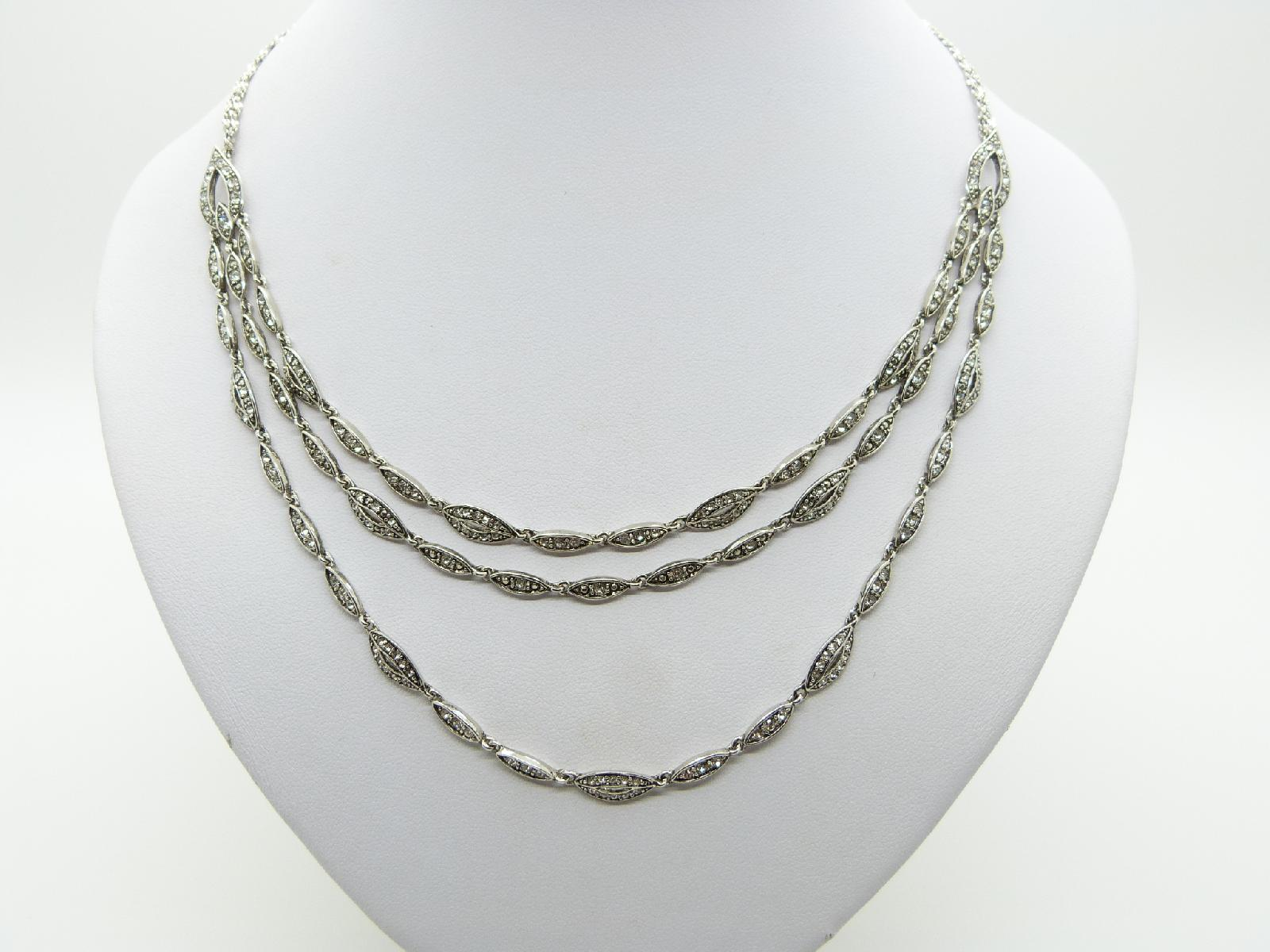 Unsigned Monet Three Row Diamante Silver Plated Chain Necklace Fab!