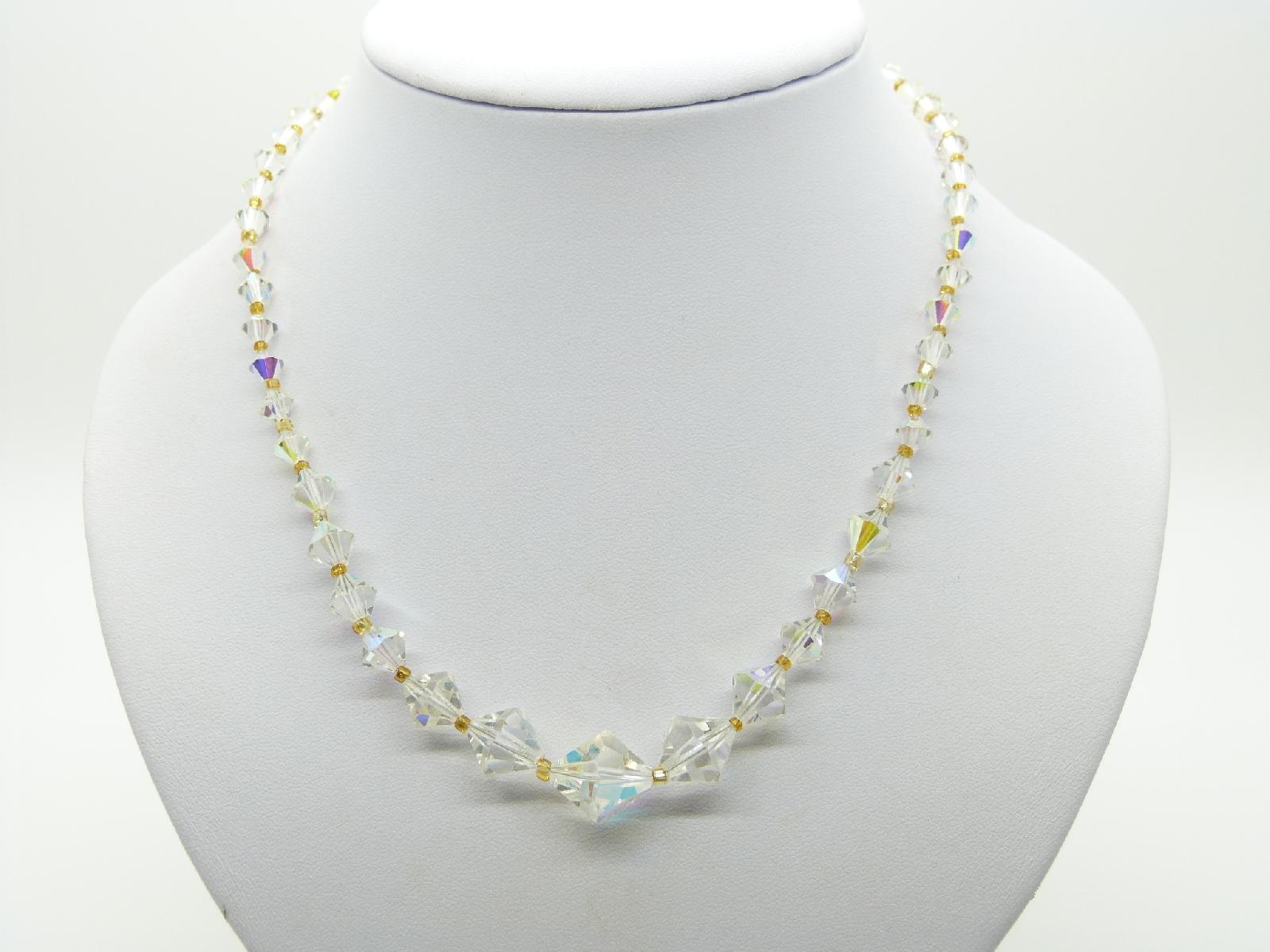 £13.00 - Vintage 50s Lovely AB Crystal Glass Bead Necklace Silver Diamante Clasp 44cms