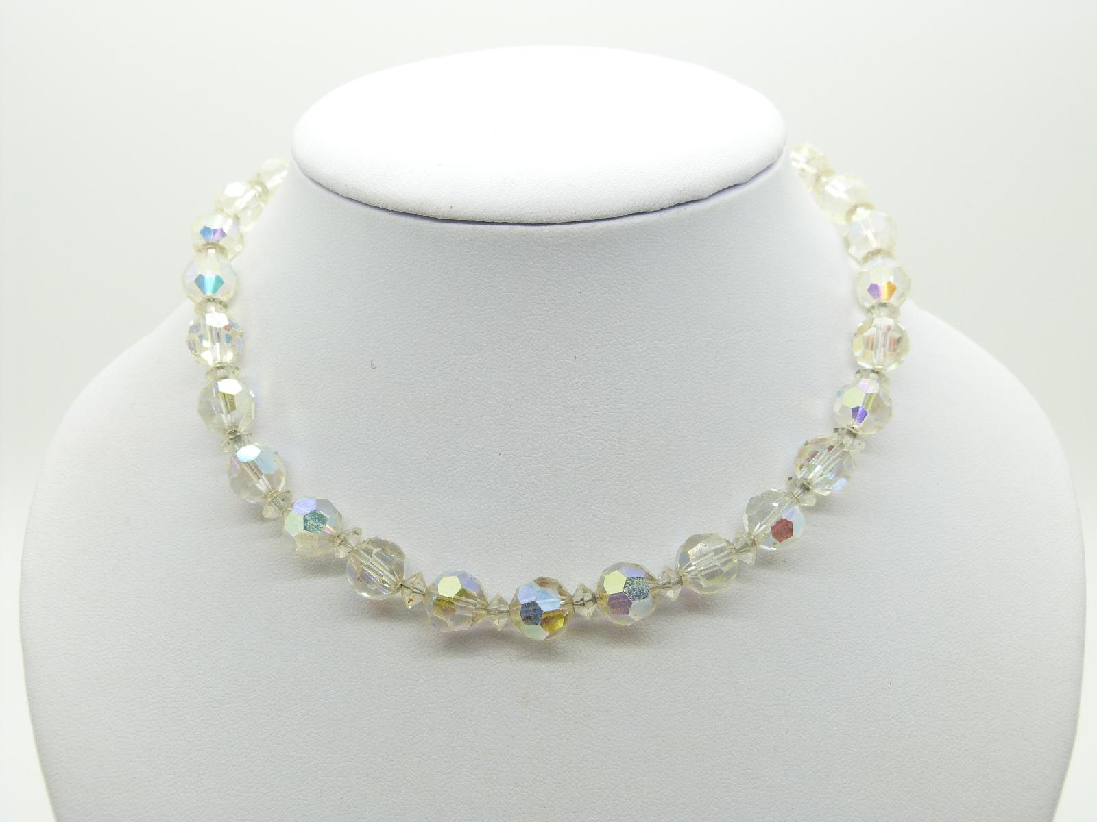 £14.00 - Vintage 50s Sparkling AB Crystal Glass Bead Necklace Super! 42cms