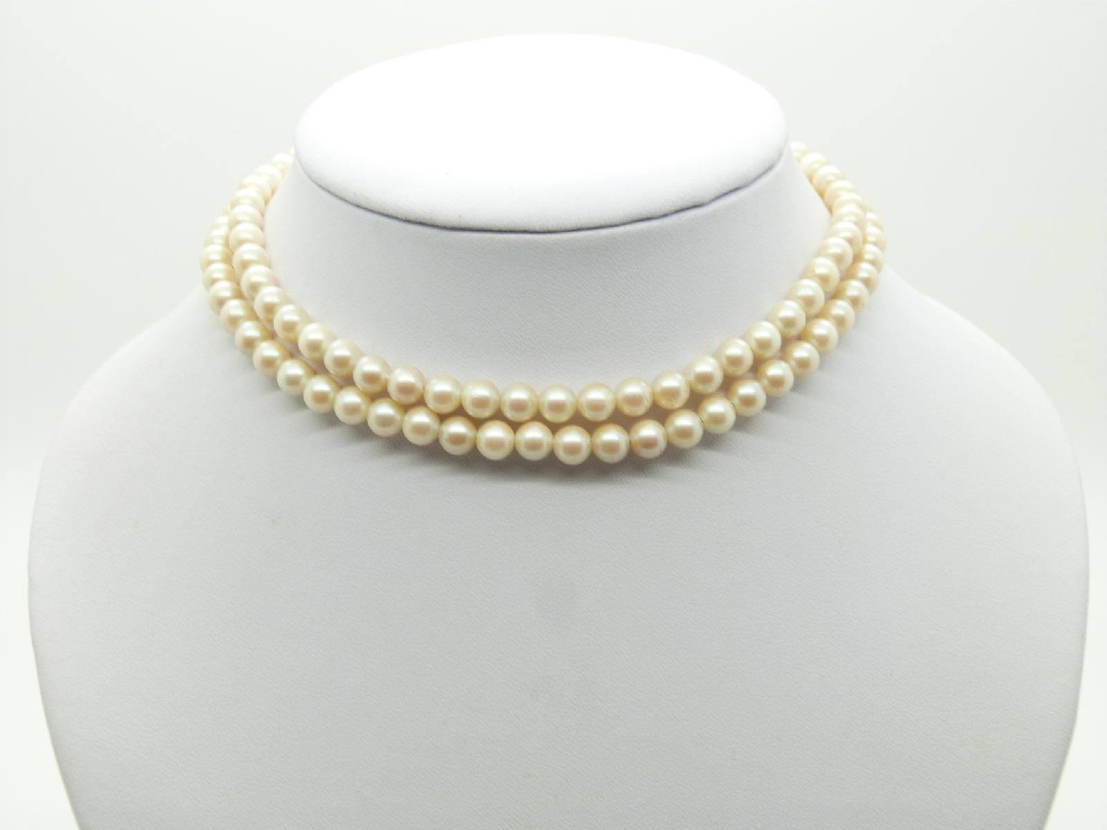 Vintage 50s Long Quality Glass Faux Pearl Bead Necklace 835 Silver Clasp 70cms Long