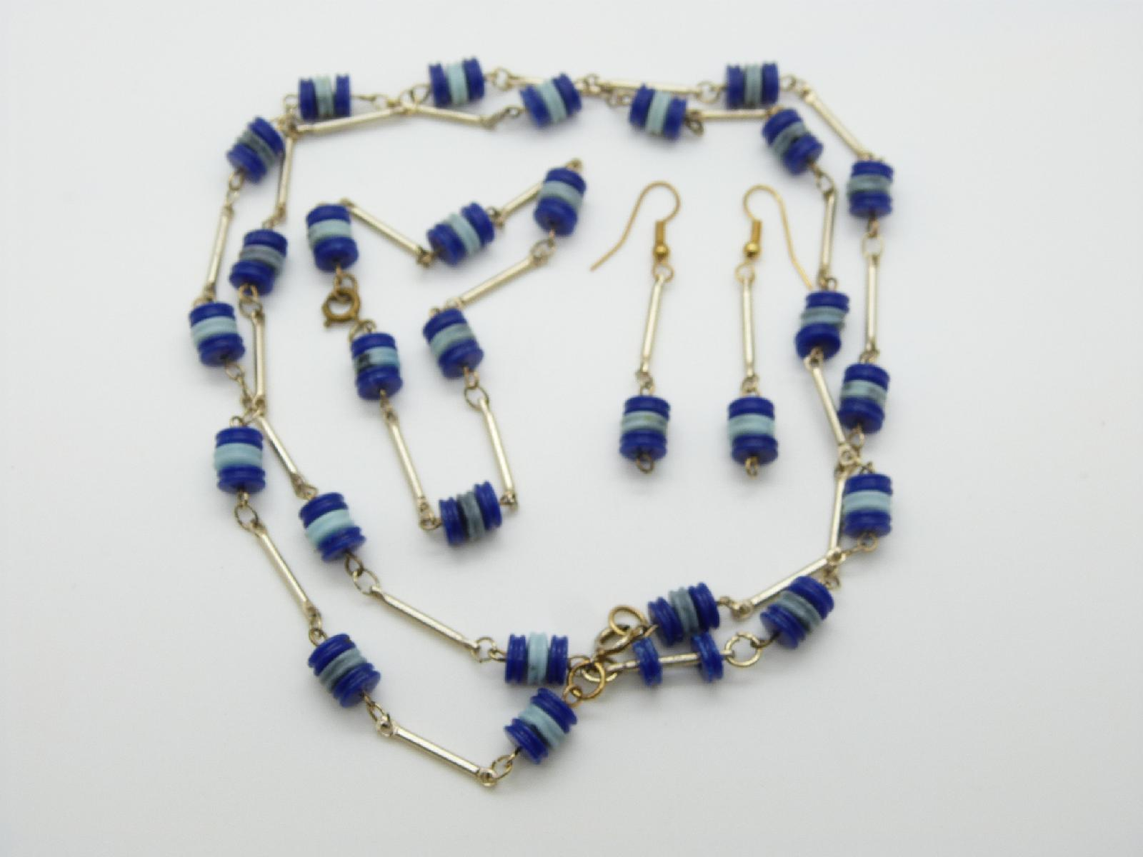 £13.00 - Vintage 60s Two Tone Blue Rondel Bead Necklace Bracelet and Earring Set