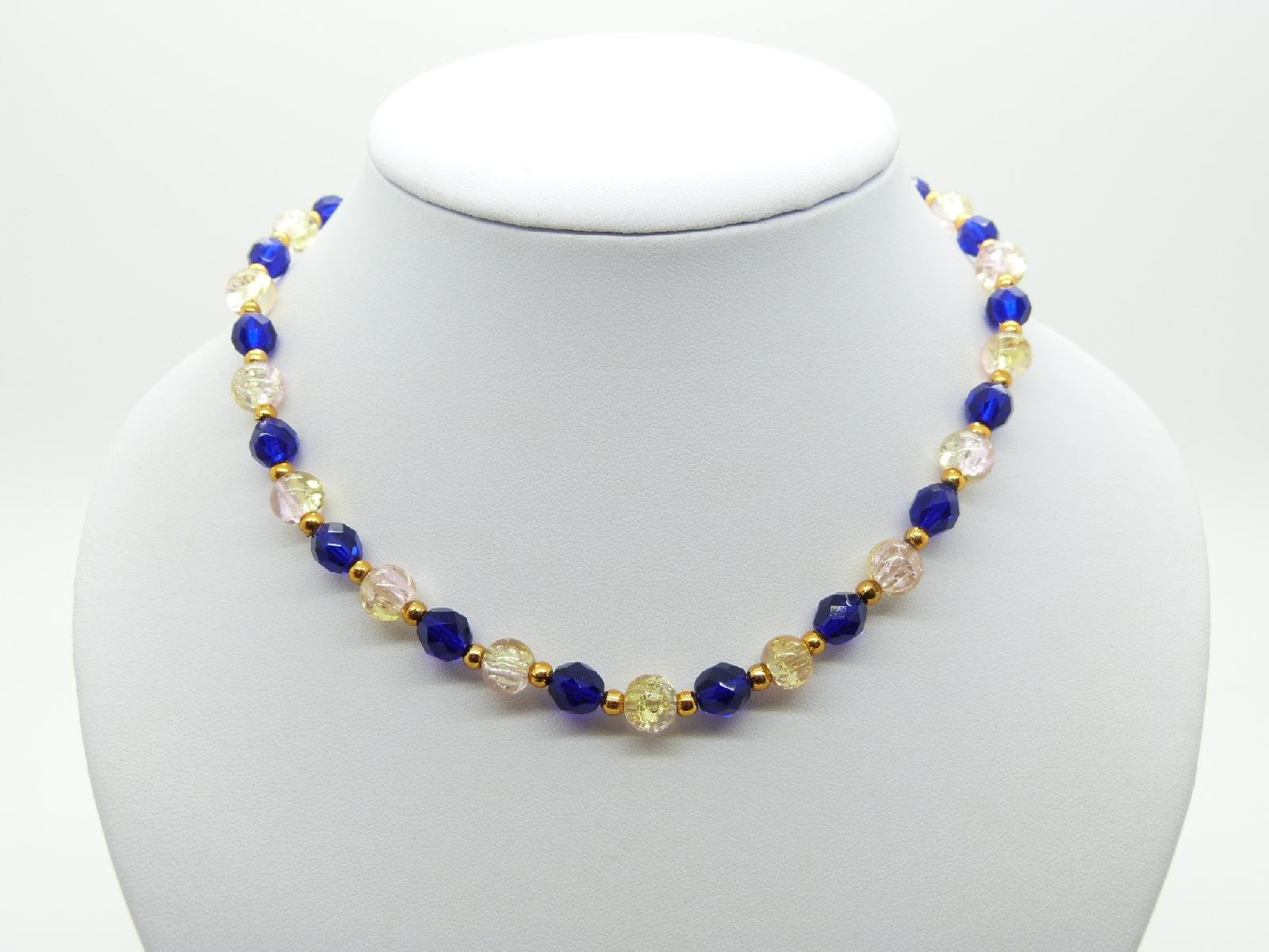 £10.00 - Vintage Redesigned Blue Glass and Crackle Bead Glass Necklace 41cms Long
