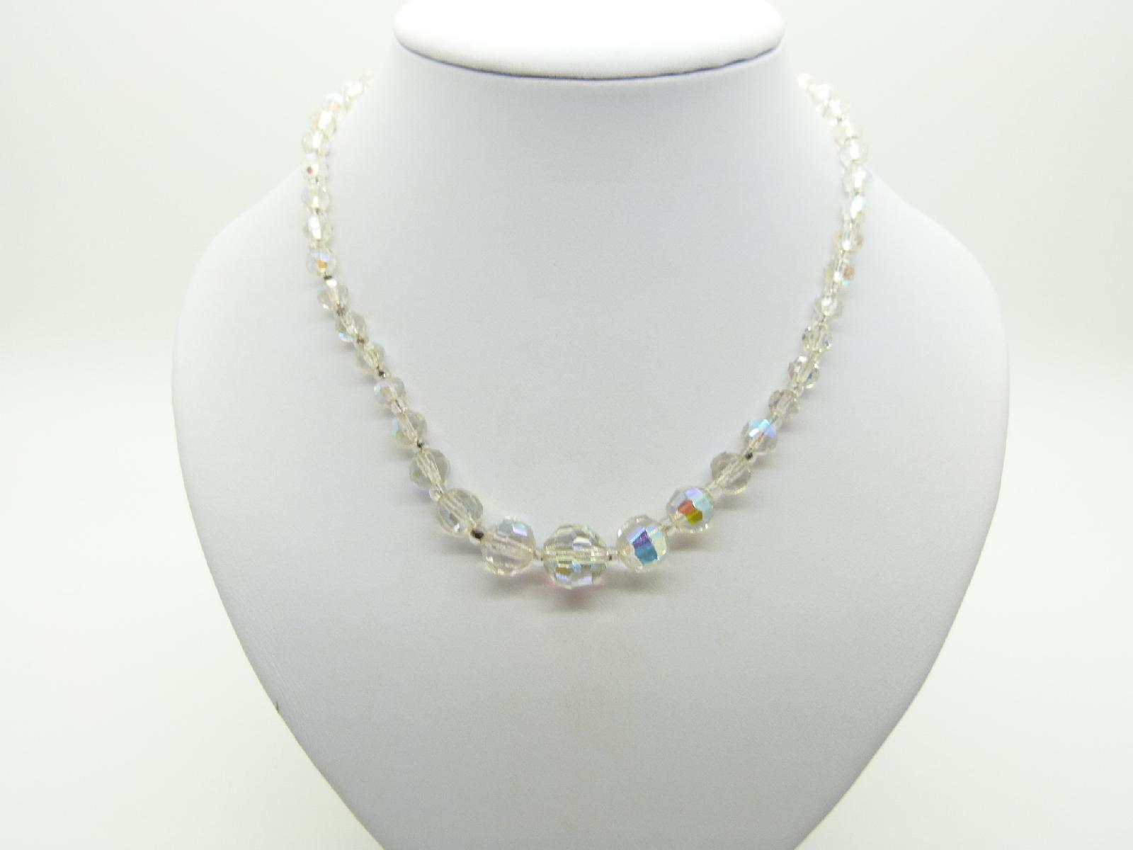 £13.00 - Vintage 50s Pretty AB Crystal Glass Bead Necklace 48cms Long