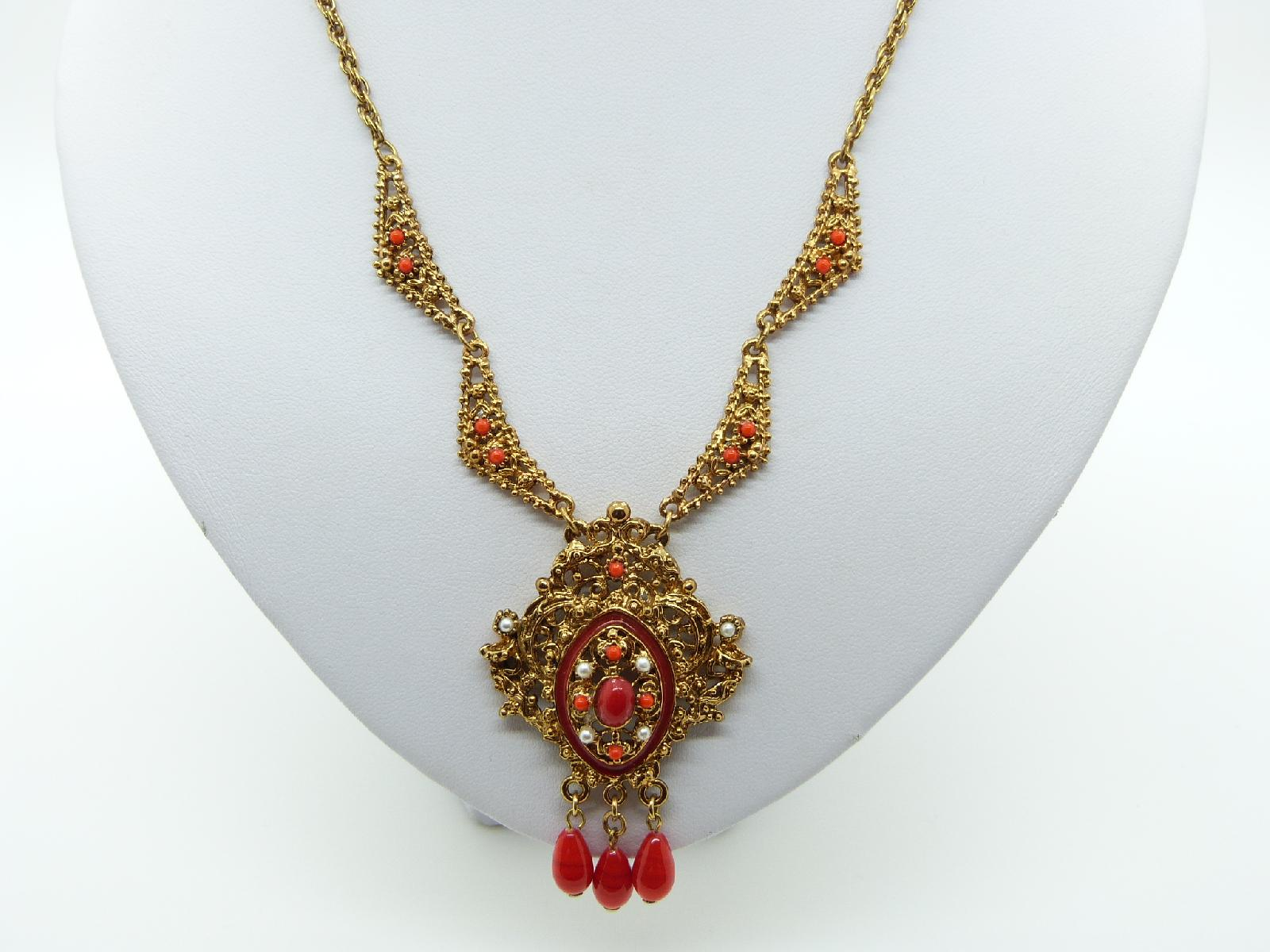 Vintage 60s Filigree Goldtone Red Glass and Pearl Dropper Pendant Necklace