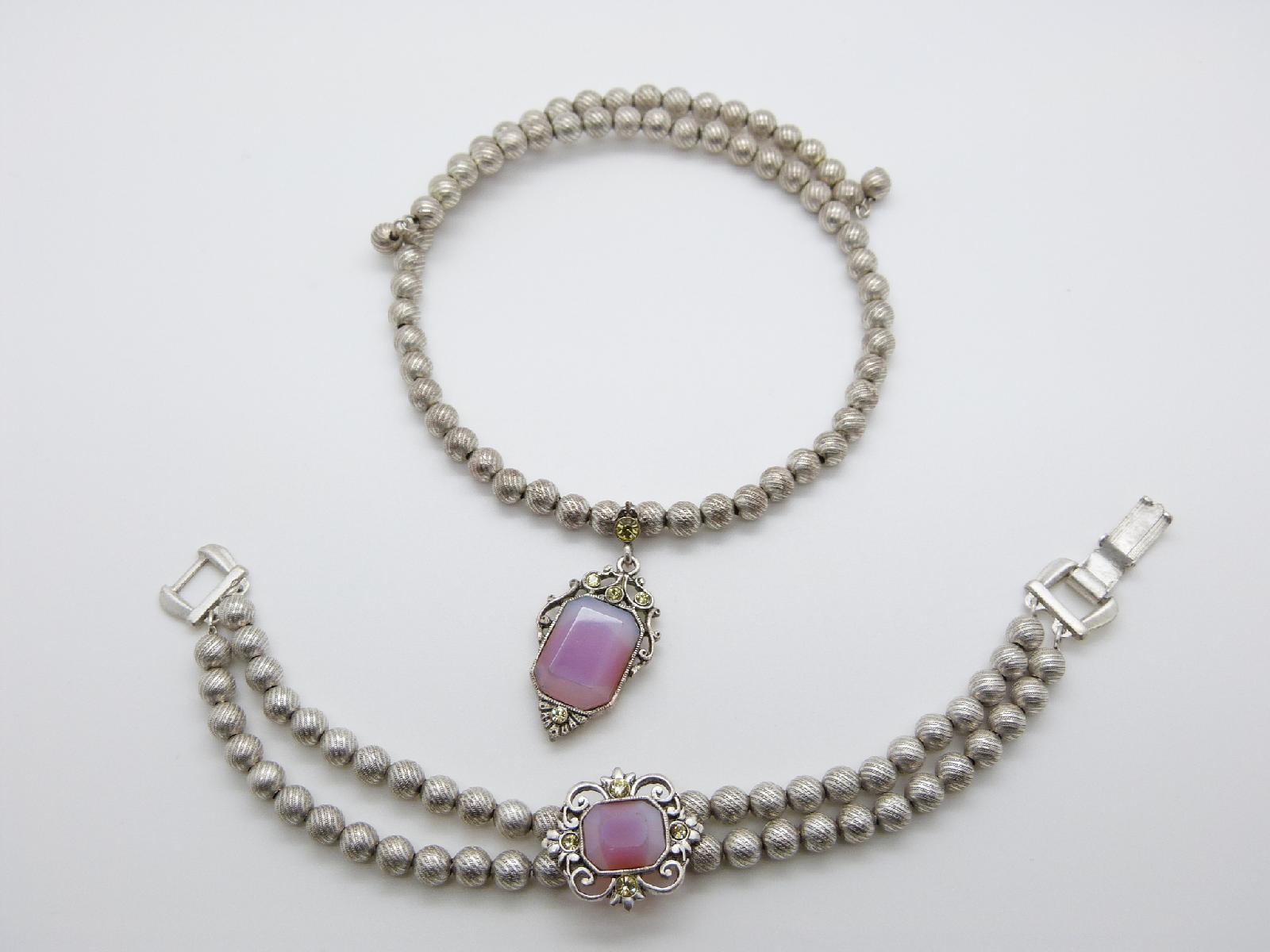 1990s Silver Metal Bead Flexible Choker Opaline Pendant and Bracelet Set