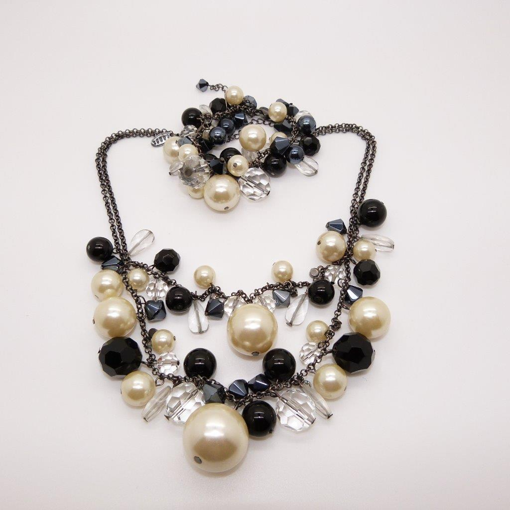 £28.00 - COAST Faux Pearl Black Glass and Crystal Dropper Necklace and Bracelet Set