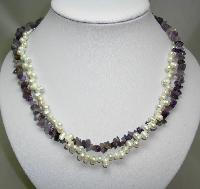 Beautiful Real Amethyst Bead and Freshwater Pearl Bead Twist Necklace