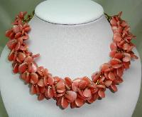 Vintage 30s Art  Deco Pink Garland Glass Cluster Bead Necklace Amazing