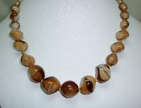 £24.00 - Vintage 30s Unique Mink Brown Art Glass Swirl Bead Graduating Necklace