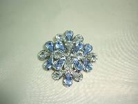 1950s Style Blue and Clear Faceted Lucite Stone Flower Shaped Brooch