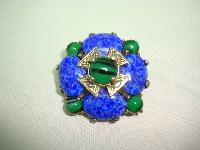 Vintage 50s Signed Miracle Cobolt Blue and Green Agate Glass Brooch
