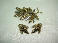 1940s Signed Weiss Smokey Rhinestone Demi Parure Brooch and Earrings