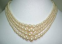 Vintage 30s 4 Row White Faux Pearl Glass Bead Necklace Diamante Clasp