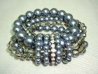 £22.00 - Fab Wide 6 Row Grey Glass Faux Pearl Bead and Diamante Stretch Bracelet