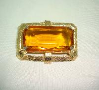 £34.00 - Vintage 50s Huge Amber Citrine Glass Stone Gold Textured Frame Brooch