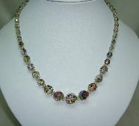 Vintage 50s Sparkling AB Crystal Glass Graduating Bead Necklace