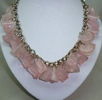 Vintage 50s Fabulous Chunky Pink Lucite Garland Drop Charm Bead Necklace