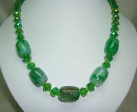 Vintage 50s Green AB Crystal Glass Bead Necklace with Green Agate Beads