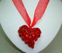 Large Red Acrylic Heart Sparkling Crystal Glass Pendant on Ribbon Tie
