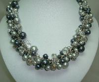 Quality Shades of Grey Faux Pearl Glass & Crystal Bead Dropper Necklace