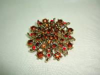 Vintage 50s Large Flower Shaped Amber Cognac Red Diamante Gold Brooch