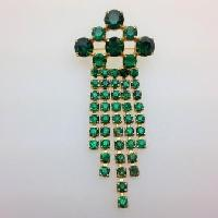 £18.00 - Vintage 50s Sparkling Green Diamante Tassel Drop Brooch
