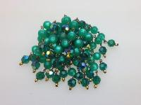 Vintage 50s Green Moonglow and Crystal Glass Bead Waterfall Cascade Brooch