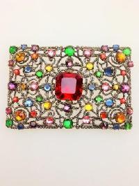 Fab Vintage 30s Czech Goldtone Filigree Multicoloured Diamante Brooch