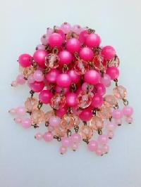 Vintage 50s Pink Moonglow and Crystal Glass Bead Waterfall Cascade Brooch