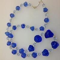 Vintage 50s Two Tone Blue Glass and Faux Pearl Bead Graduated Necklace