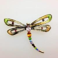 Vintage 90s Signed Monet Colourful Enamel and Diamante Dragonfly Brooch