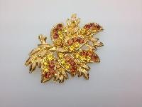 £20.00 - Vintage 50s Quality Goldtone Amber Tones Diamante Floral Design Brooch 7cms