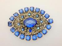 £30.00 - Vintage 30s Czech Filigree Blue Paste Diamante Flower Design Brooch 6cms