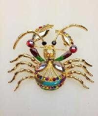 Vintage 80s BIG Enamel and Diamante Colourful Figural Crab Brooch Amazing!
