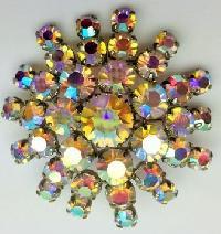 £24.00 - Vintage 50s Sparkling AB Diamante Starburst Silvertone Brooch Fabulous! 5cms