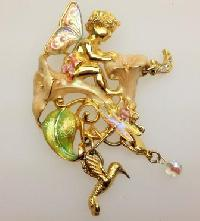 £40.00 - Signed Kirks Folly Moonflower Fairy Enamel and Crystal Pendant Brooch