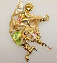 Signed Kirks Folly Moonflower Fairy Enamel and Crystal Pendant Brooch