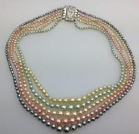 Vintage 50s Five Colour Graduated Glass Faux Pearl Bead Necklace Diamante Clasp 52cms