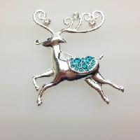 £10.00 - Fab Signed Liz Claiborne Silvertone and Green Diamante Reindeer Brooch 5cms