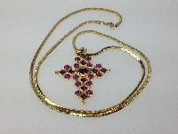 £25.00 - Vintage 80s Sparkling Amethyst Diamante Goldtone Cross Pendant witn Snake Chain