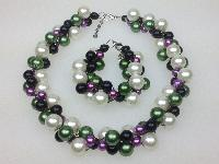 £28.00 - Black Green Purple and White Glass Pearl Bead Necklace and Bracelet Set