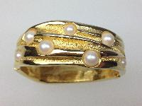 £24.00 - Vintage 80s Wide Goldtone Glass Faux Pearl Clamper Cuff Hinged Bracelet