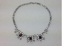 Vintage 50s Sparkling Flower Drop Amethyst and Clear Diamante Paste Necklace