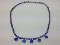 £20.00 - Vintage 50s Very Pretty Blue Diamante Drop Silvertone Necklace