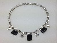 Vintage 30s Art Deco Black and Clear Diamante Statement Necklace Quality!