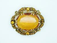 Vintage 50s Amazing Large Amber Glass Diamante Goldtone Oval Brooch 6cms