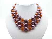 Vintage 50s Three Row Amber Glass and Purple Glass Faux Pearl Bead Necklace
