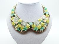 £13.00 - Yellow and Green Flower Sequin Embellished Peter Pan Collar Necklace