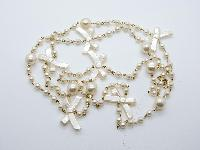 £12.00 - Very Pretty Long Plastic Pearl Bead Necklace with Bows Super Cute!